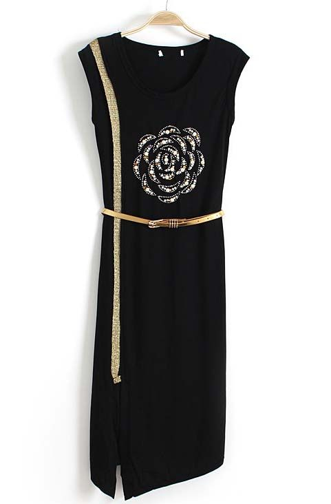 Black Sleeveless Bead Chain Embellished Split Dress