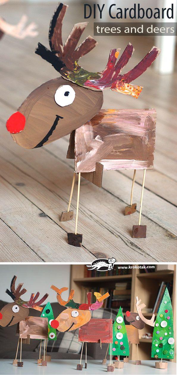 Cardboard Christmas craft :: reindeer craft kids can make :: recycled christmas tree craft