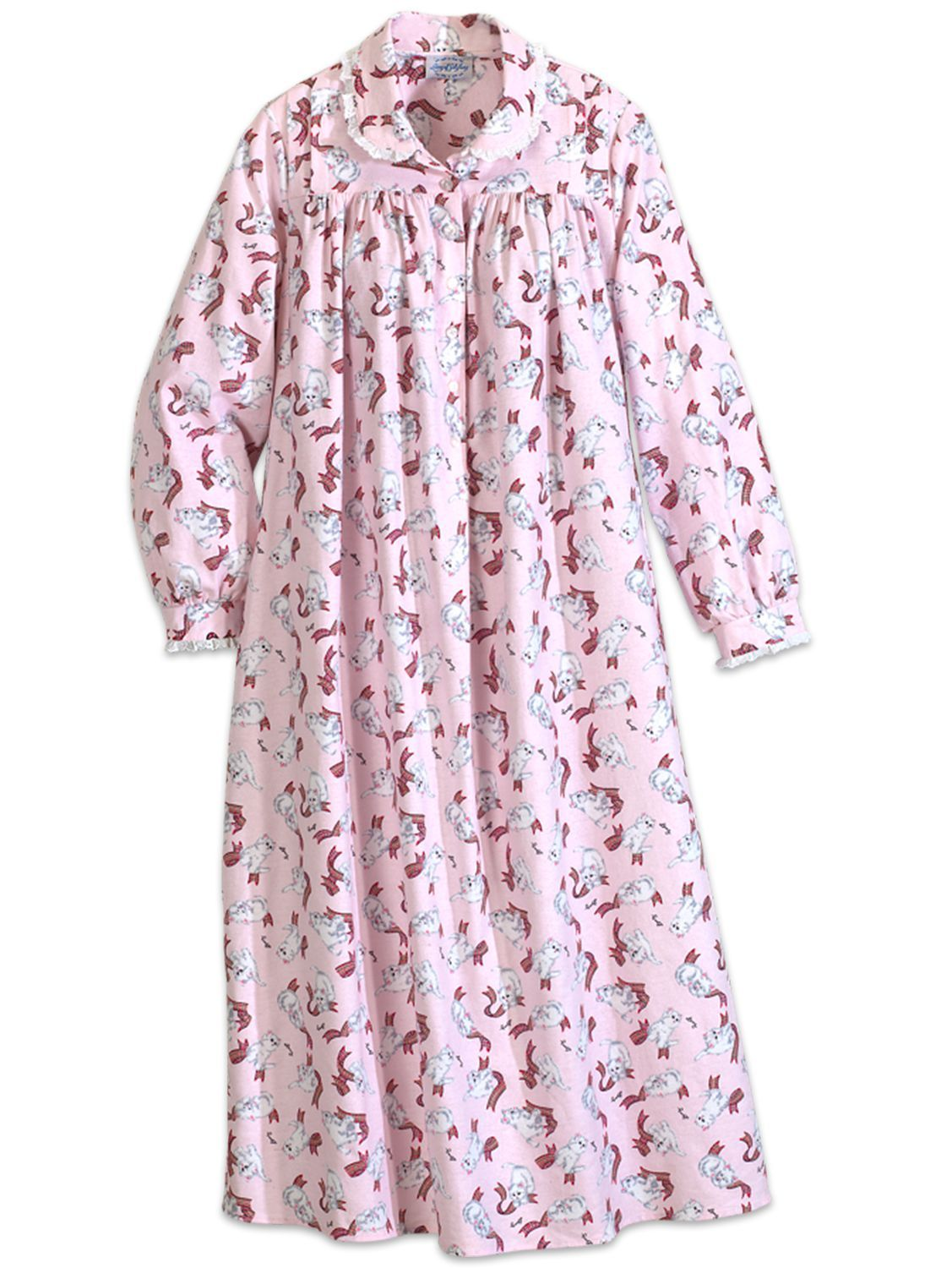 62c7eea97b1f Lanz Playful Kittens Flannel Nightgown