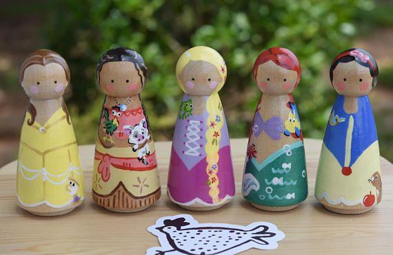 Princess Peg Doll Princess Toys Rapunzel Peg Doll Ariel Peg Doll