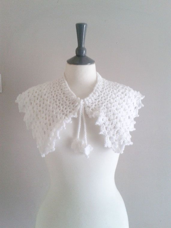 Crochet Capelet Shawl With Flower Ties - Bridal Shrug - Bridal ...