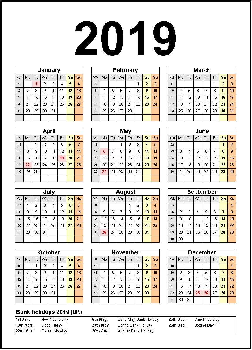Printable Calendar 2019 United States Holidays Monthly Calendar
