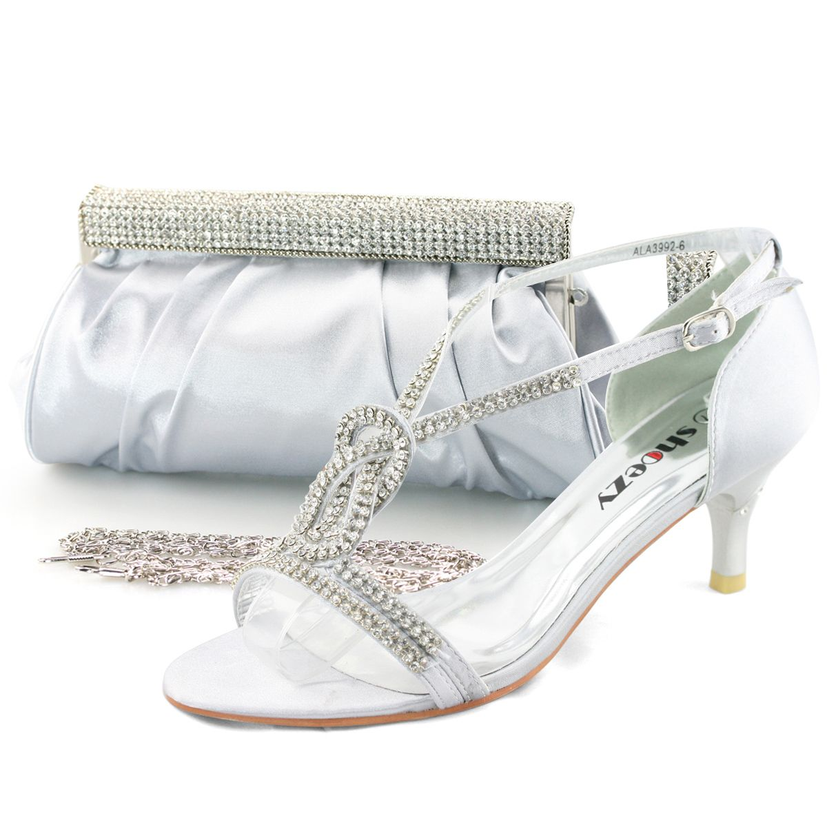abff77c8a8e Ladies Silver Satin Low Heels Diamante Sandals Shoes Purse Handbag Wedding  Bag