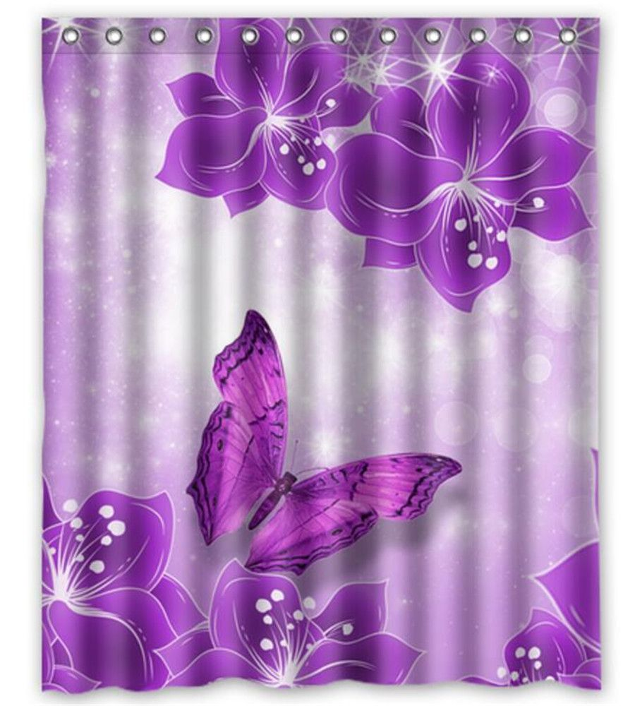 Personalized Waterproof Polyester Fabric Shower Curtain With 12 C