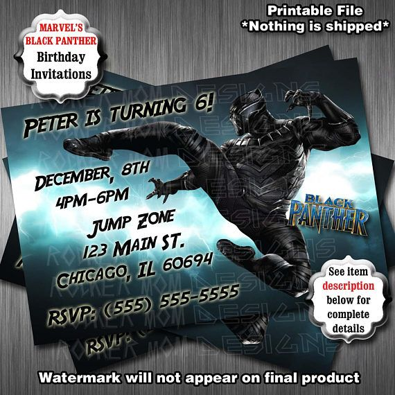Black panther birthday party invitations superhero black panther black panther birthday party invitations superhero stopboris Gallery