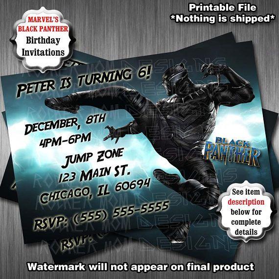 black panther birthday party invitations superhero