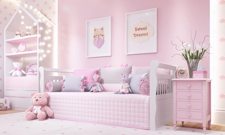 Chevron Po Rosa E Cinza Formam A Decora O Rosa Do Quarto De  ~ Organizar Quarto Muito Bagunçado Com Tema Quarto De Bebe Feminino