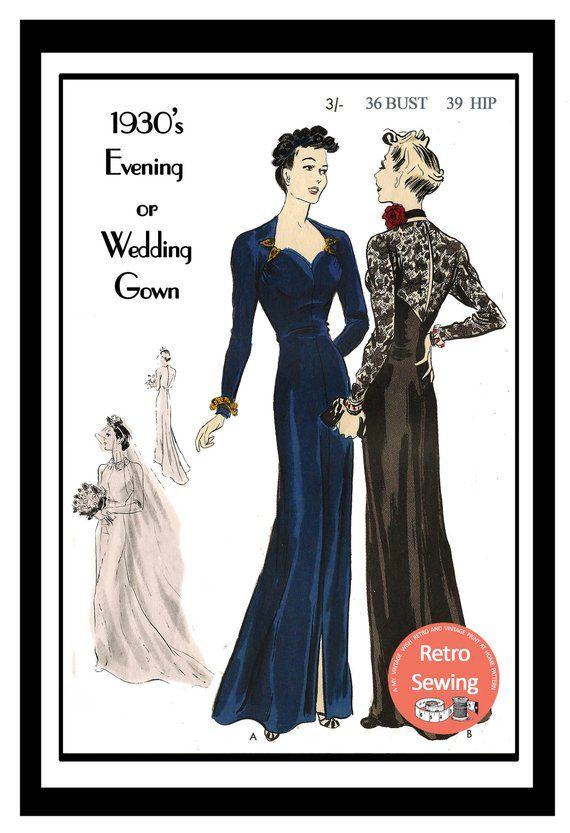 1930\'s Evening and Bridal Gown - E Sewing Pattern Instand download ...