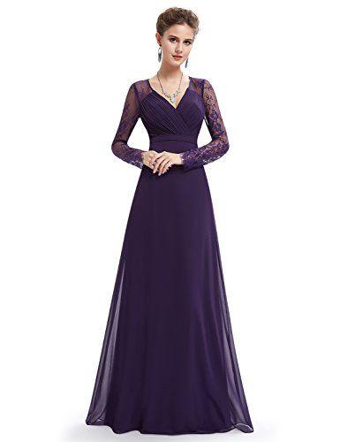 995cceab73b9c Ever Pretty Womens Long Sleeve V-Neck Evening Dress 16 US Purple  79.99