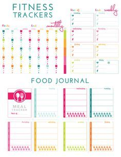 printable fitness trackers and food journal  weight loss