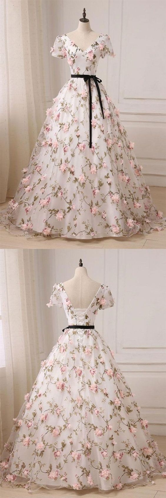 Floral prom dressshort sleeve prom dresstulle evening dress