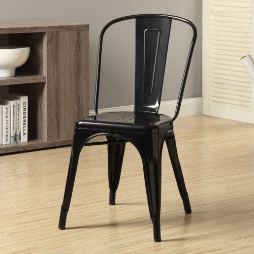 Monarch Specialties I 2411 Black Glossy Metal 33 Inch Cafe Chair