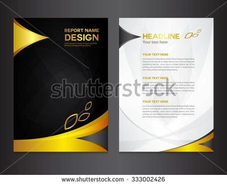 Gold Annual report design vector illustration,cover template - it company profile template