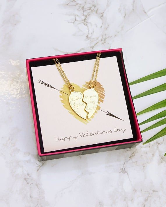 Broken Heart Necklace, Boyfriend Girlfriend Jewelry, Couple Necklace Set, Girlfriend Jewelry, Gift For Girlfriend, Half Heart Necklace