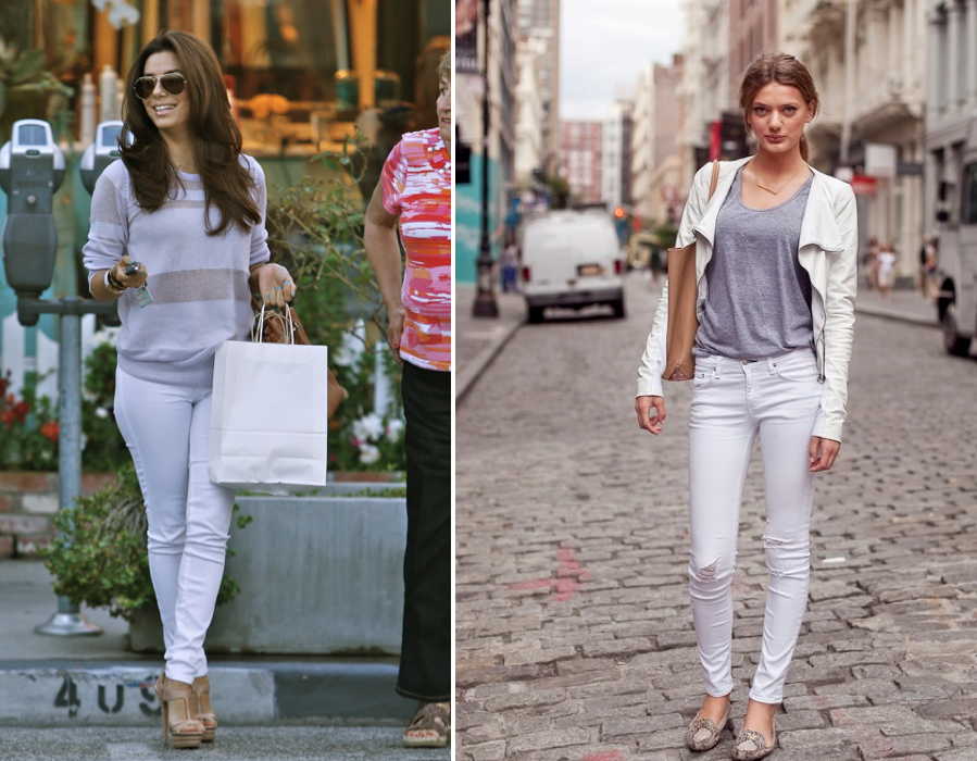white shoes with white jeans