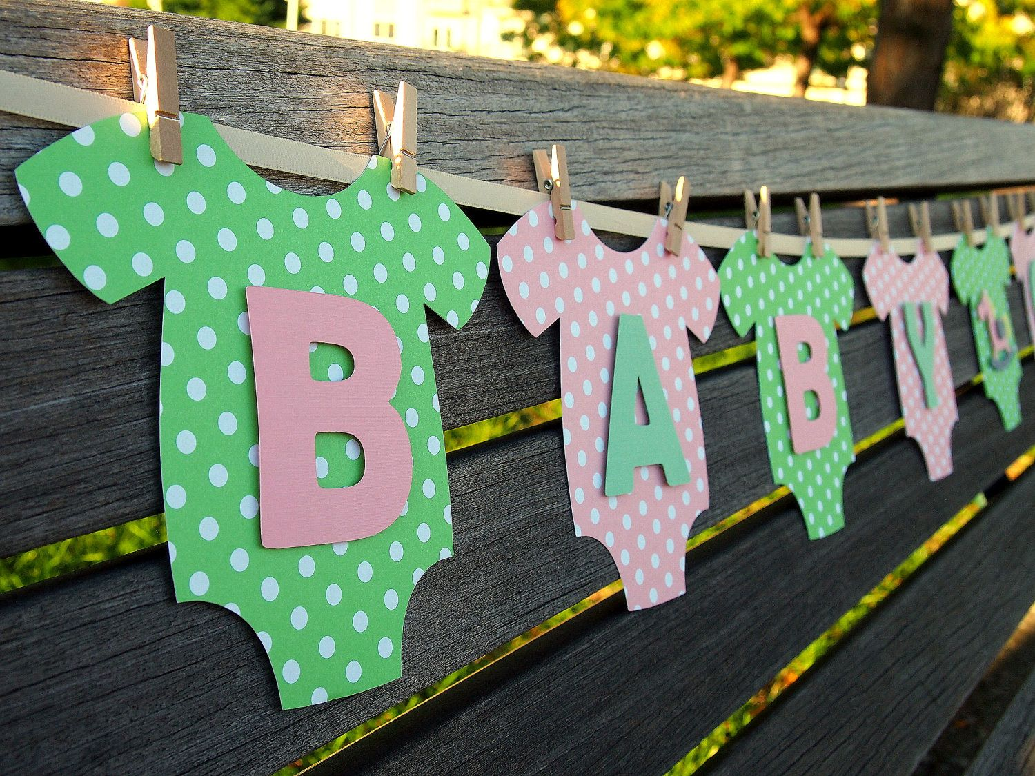 onesie baby girl baby shower banner pink and green baby shower decoration 3195 via etsy