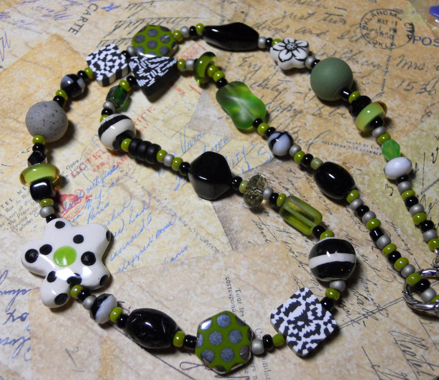 Beaded Polymer Clay Necklace by TLS Clay Design. $48.99, via Etsy.