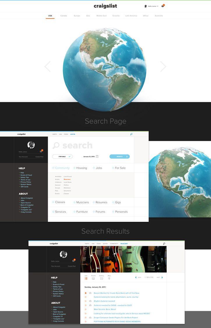 28 Interesting Craigslist Redesign Concepts Redesign Website Design Web Layout