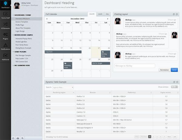 15 Templates de backoffice en HTML   CSS Template, Web dashboard - office template calendar