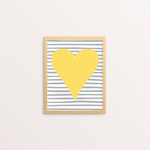 Striped Heart Print | Yellow, Grey | Heart Printable | Heart Wall ...