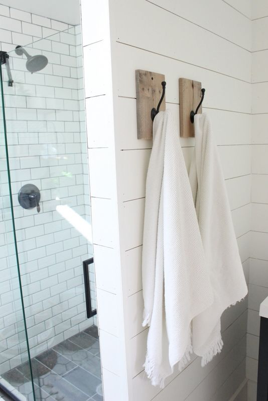 Towel Hooks Subway Tile Shower Shiplap Planking Bathroom Towel Hooks Farmhouse Shower Hang Towels In Bathroom