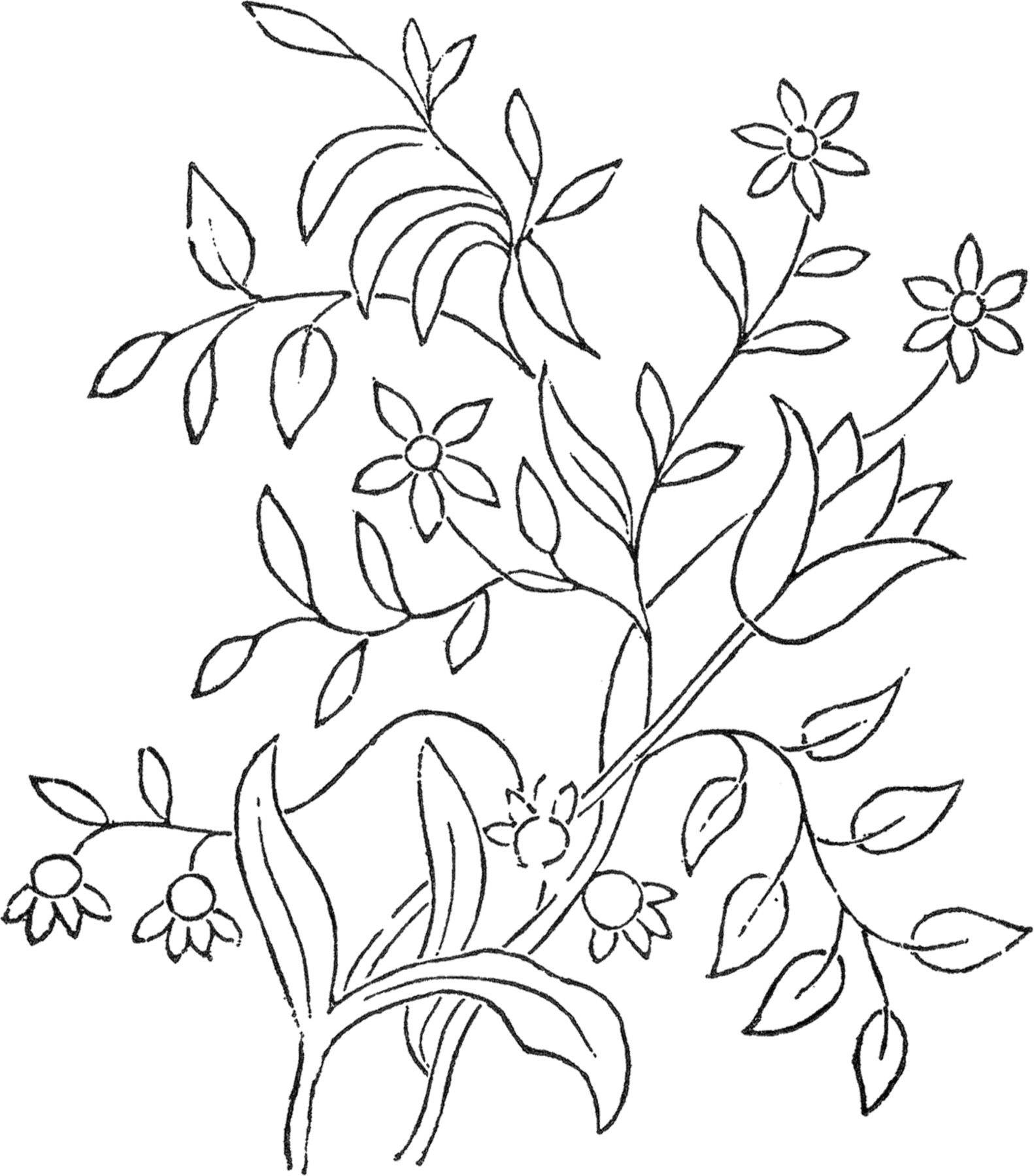 Flower Embroidery Pattern - The Graphics Fairy