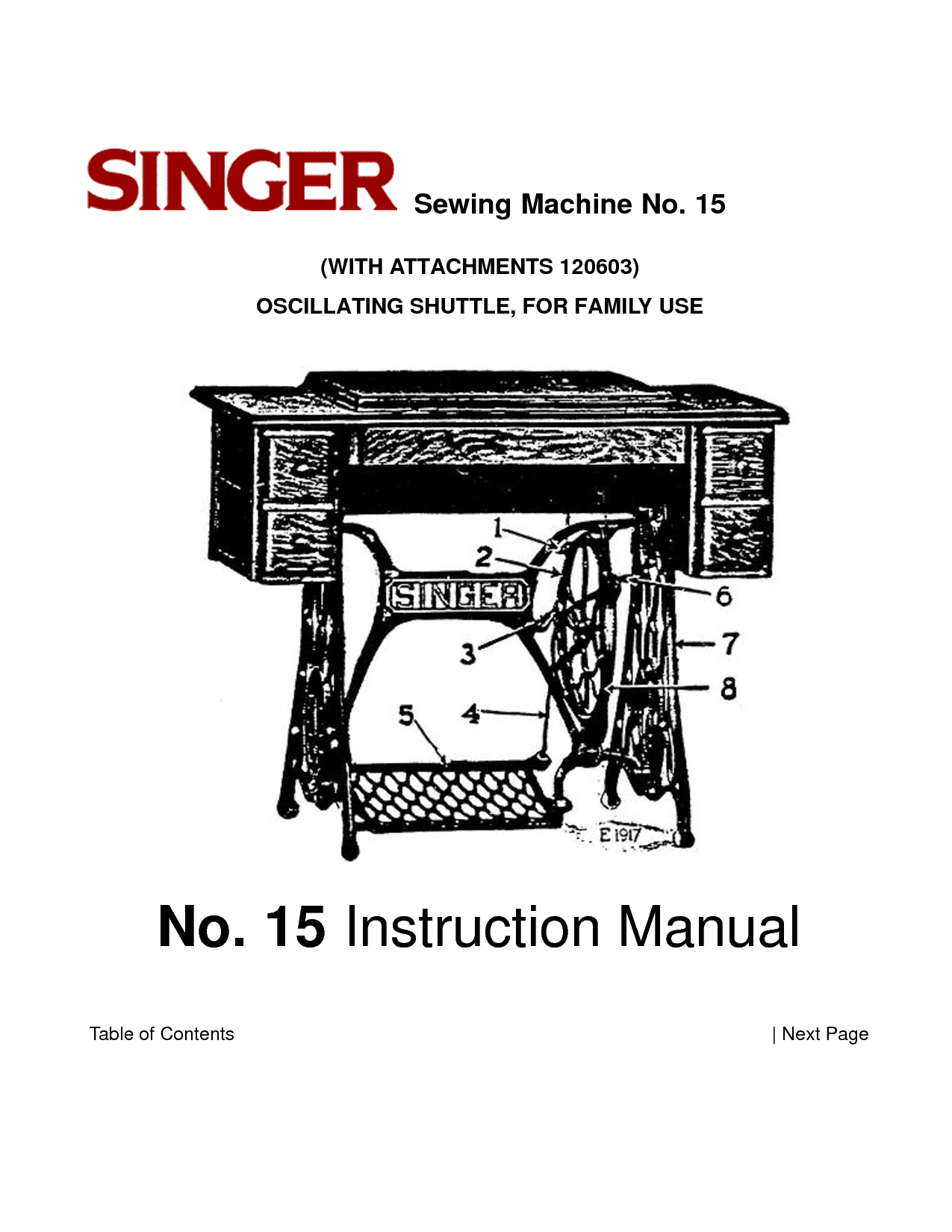 sewing machine parts | Singer Sewing Machine User Manual and Parts List No  15