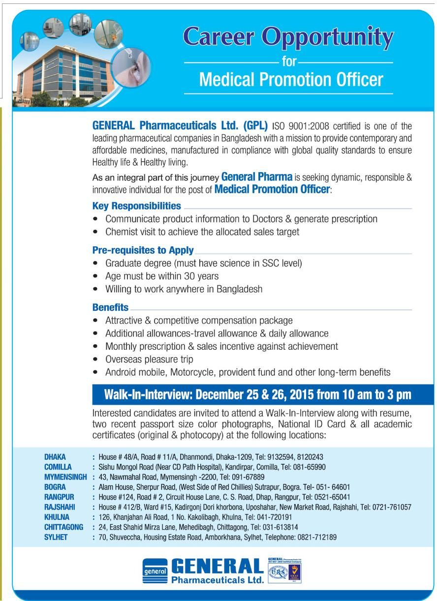 Medical Promotion Officer Company Name General Pharmaceuticals