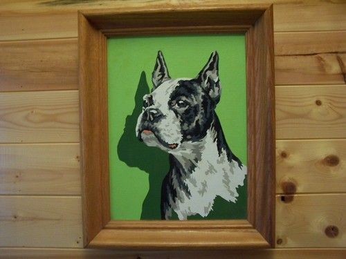 Vintage Paint By Number Boston Terrier Dog Pbn Paint By Number