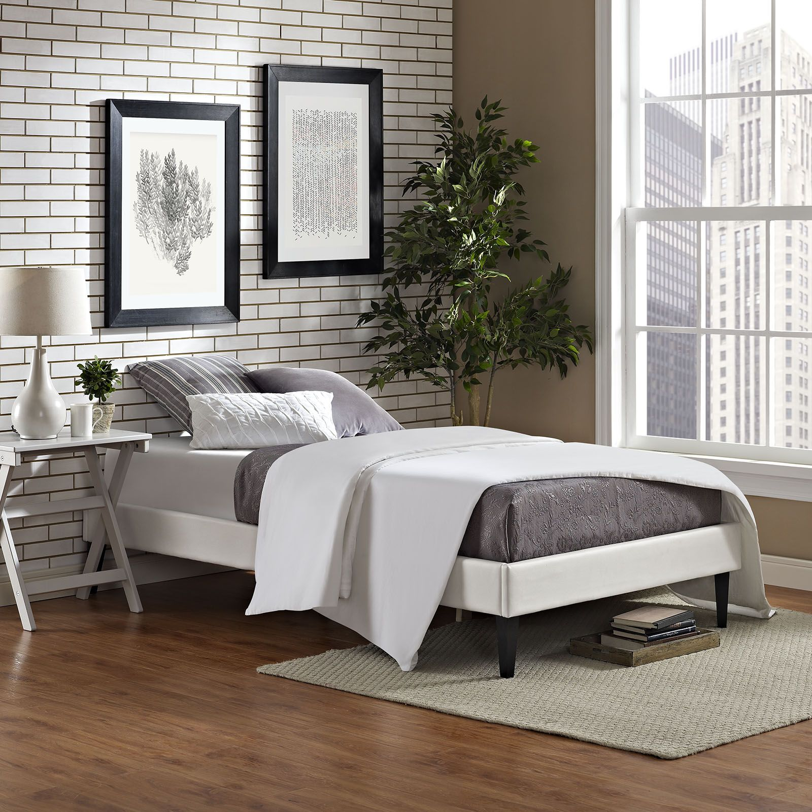 Modway Furniture 5347 Twin White Vinyl Platform Bed Frame