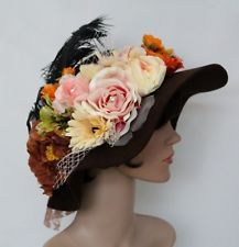 Brown Church/Dress Flannel Vintage Hat Handmade With Flowers,Feather And Net ,M