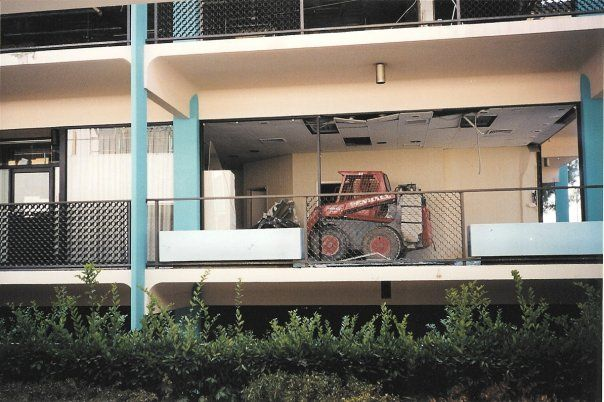 Tearing down of the old Disneyland Hotel stores :(