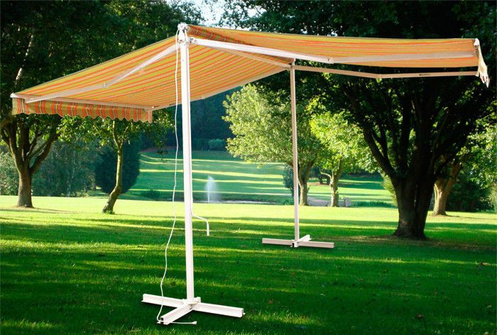 New Deluxe Free Standing Motorized Double Sided Retractable Awning Gazebo Remote Mtnshadesmith Awning Gazebo Gazebo Garden Structures