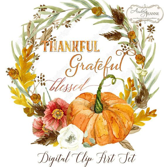 Watercolor Fall Wreath Digital Clip Art Pumpkin Autumn Leaves