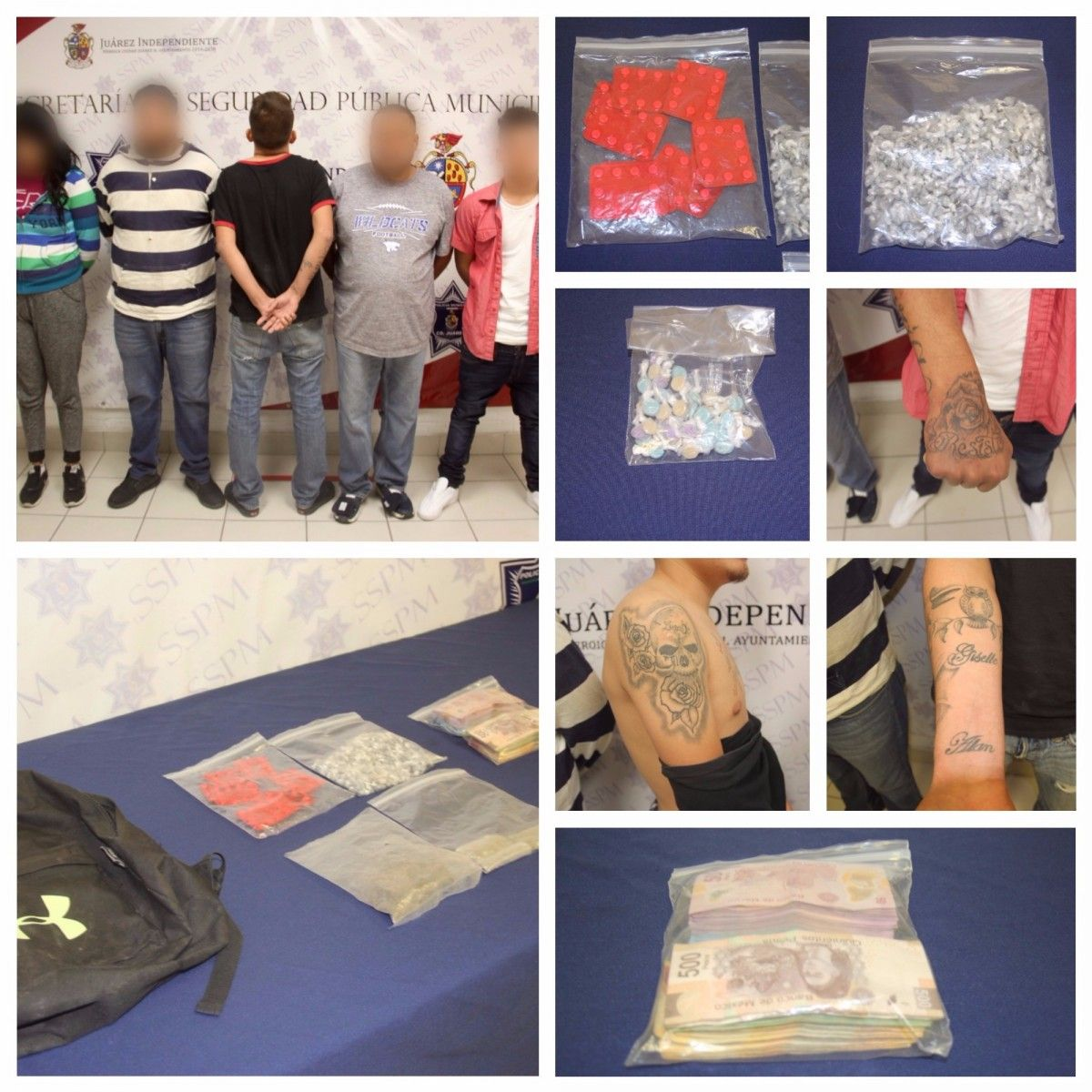Aseguró la SSPM de Juárez más de 750 dosis de heroína, 90 de Clonazepam y 44 de éxtasis al detener a célula de los Aztecas | El Puntero