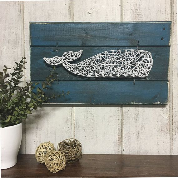 Photo of Items similar to WHALE ART, whale string art, nautical wall decor, farmhouse decor, rustic industrial decor, string art, nursery wall art on Etsy