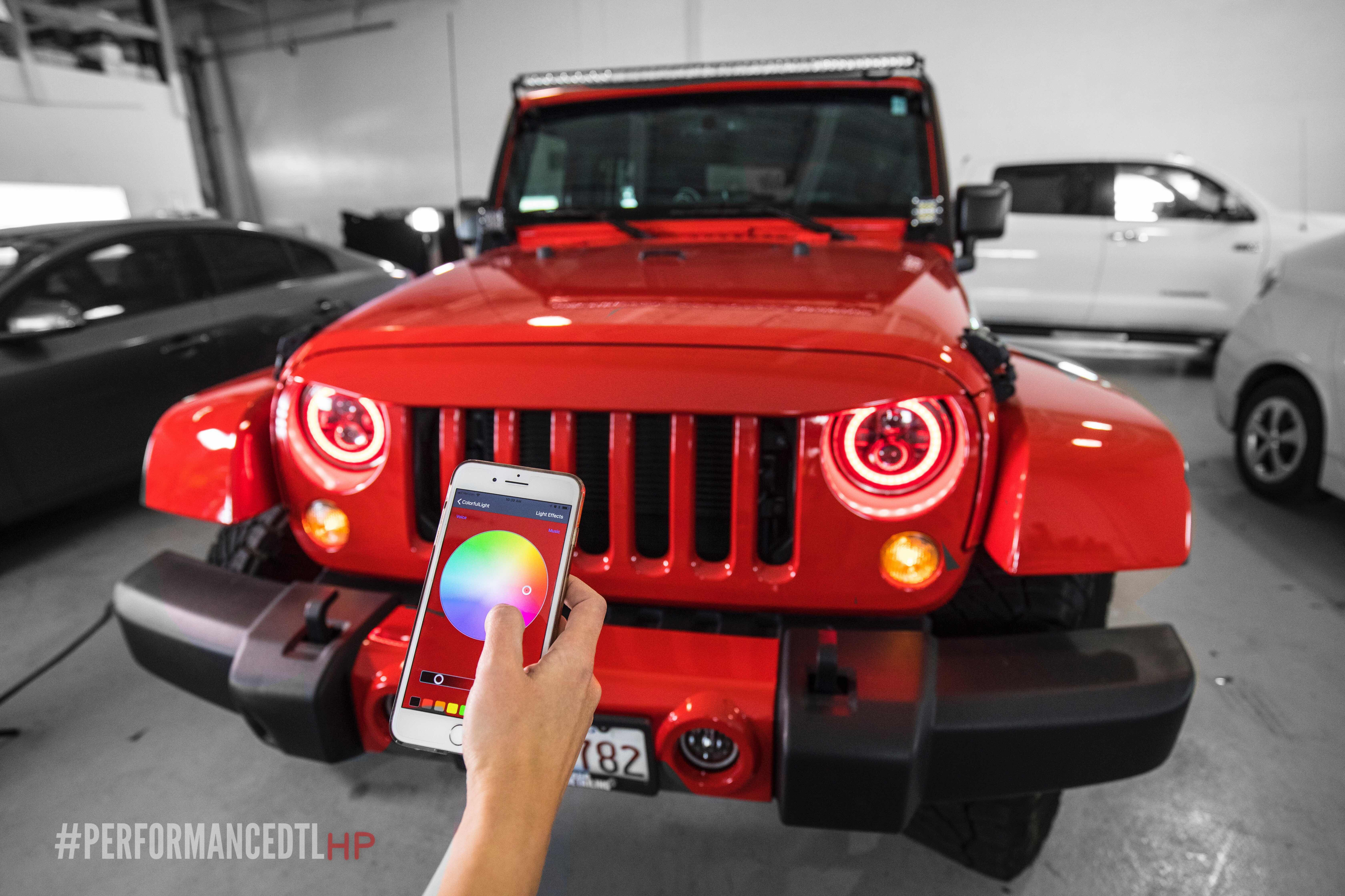 Ready For An Upgrade Rgb Color Changing Headlights Jeep Red
