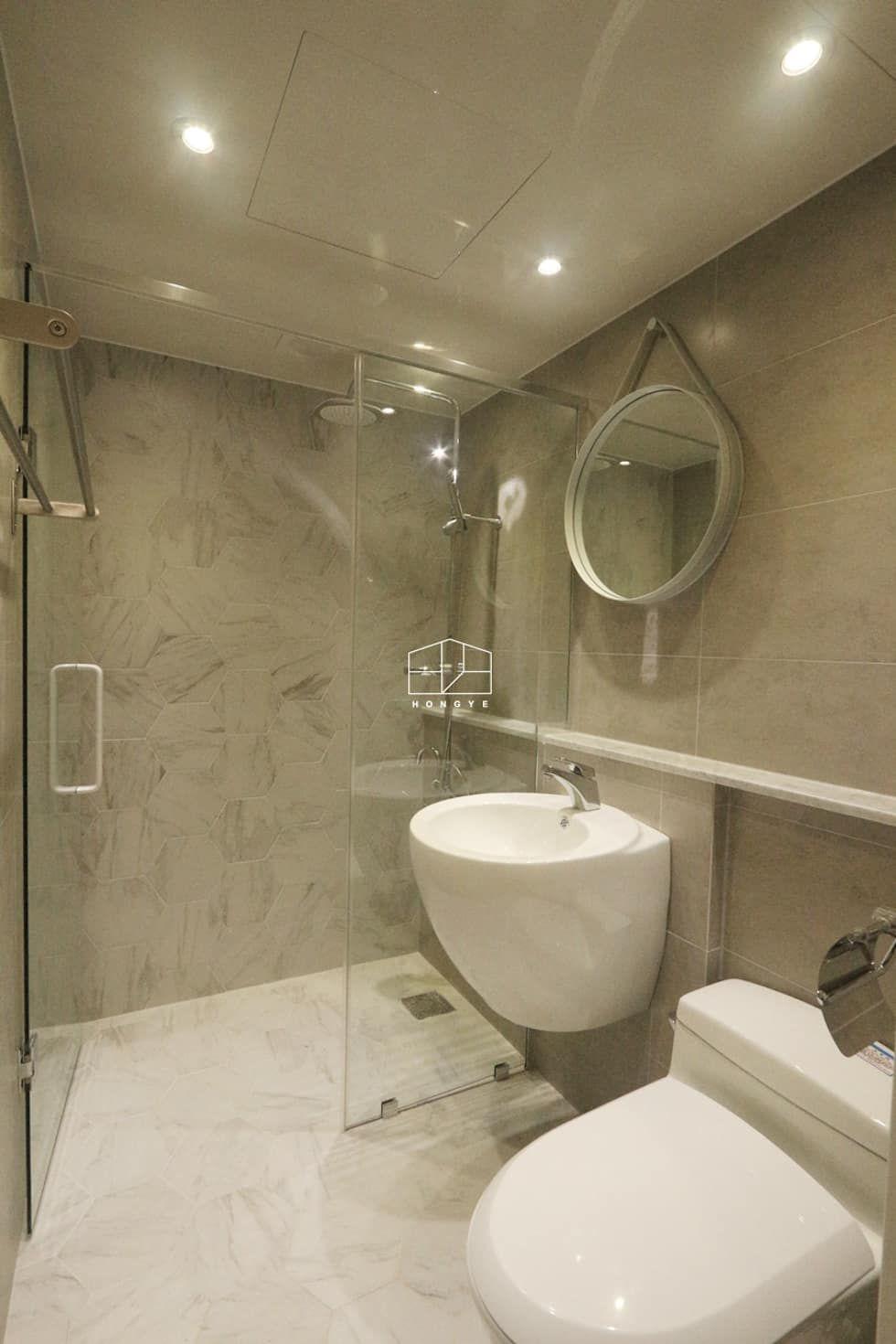 인테리어 디자인 아이디어, 내부 개조 & 리모델링 사진  욕실