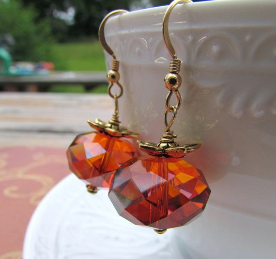 Pumpkin Earrings. Orange Autumn Swarovski by geminiartworks, $25.00