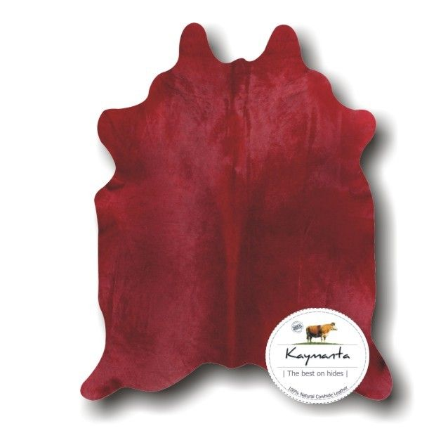 Kaymanta | The Best On Hides   Red | Dyed On Solid White Cowhide Rug,