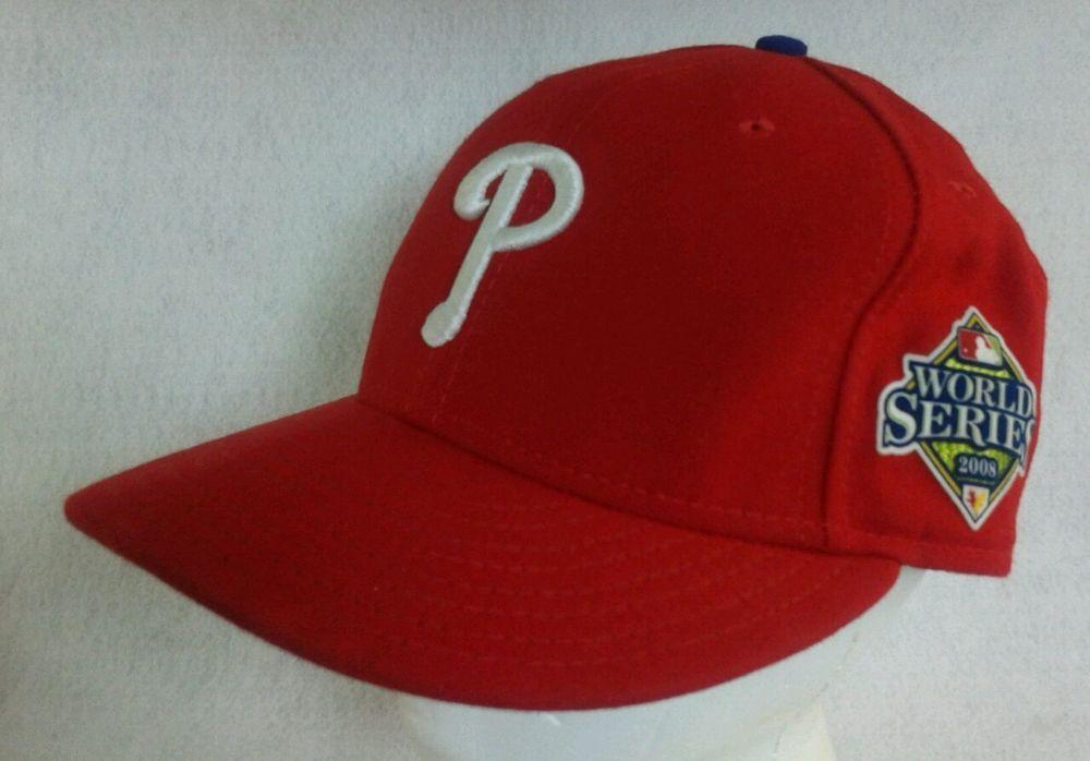Philadelphia Phillies 2008 World Series Fitted Cap Hat Sz 75 New Era 59Fifty PhiladelphiaPhillies