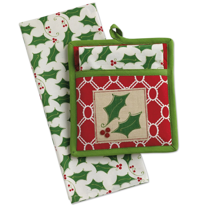 Holly Jolly Embellished Potholder Gift Set Dish Towels Gifts