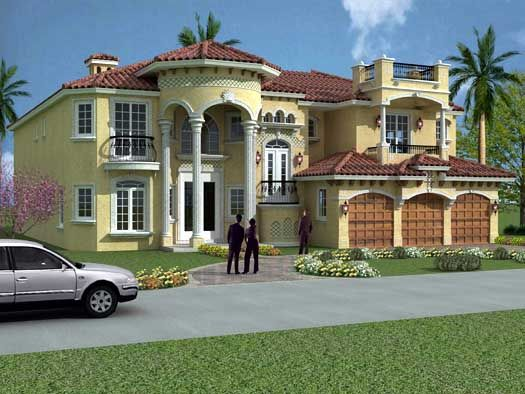 6 Bedroom House Plans front Florida Style House Plans 6664 Square Foot Home 2 Story 6 Bedroom And