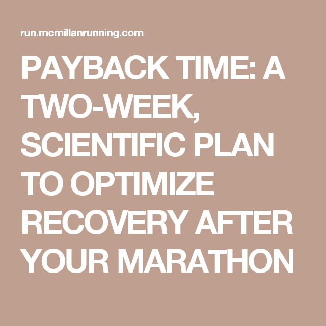 PAYBACK TIME: A TWO-WEEK, SCIENTIFIC PLAN TO OPTIMIZE RECOVERY AFTER YOUR MARATHON