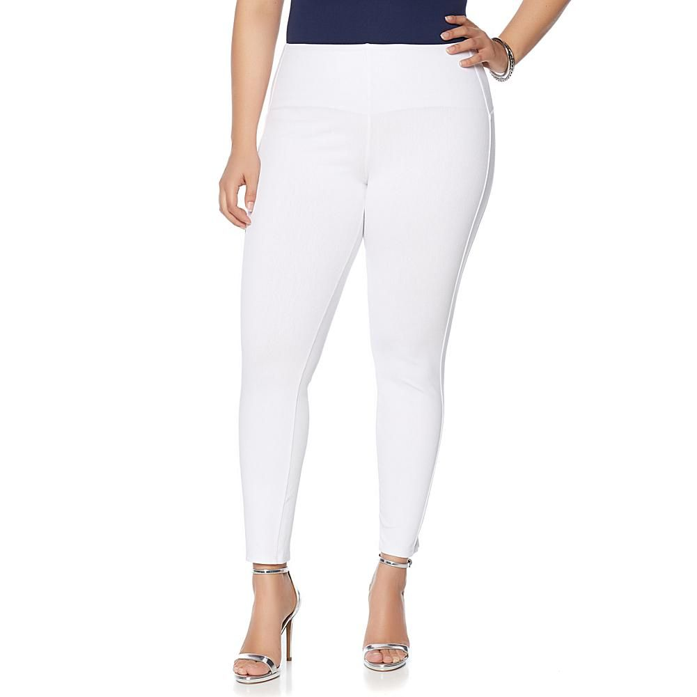 530f04d37 LYSSE Smoothing Waist White Stretch Denim Ankle Legging - Plus Stretch Denim