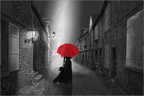 Monika jüngling die frau mit dem roten schirm red umbrellared accentswhite printsretro