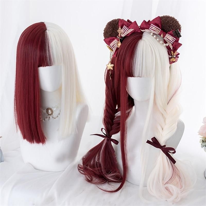 Photo of Half Red Mixed Beige Bob Long Straight Wavy Bangs Cute Wig – 26inches / United States