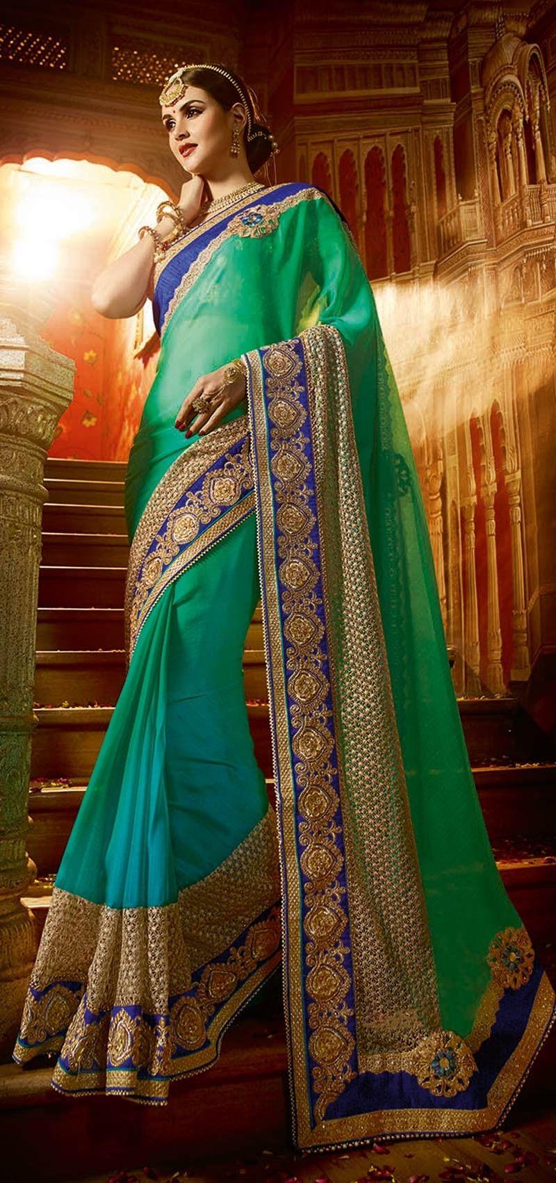 ae7b132e03 Exclusive Green Party Wear Georgette Chiffon Designer Saree with heavy lace  border