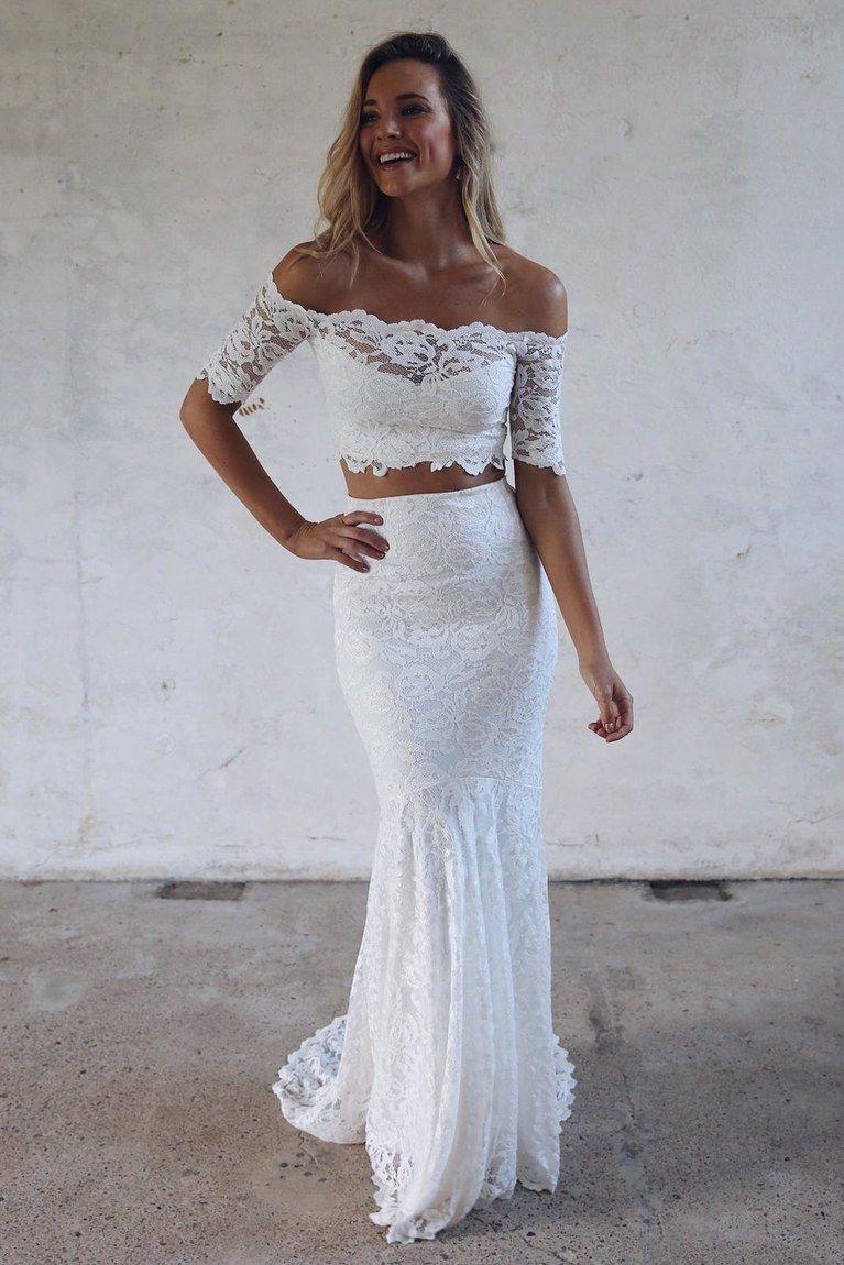 32 Summer Wedding Guest Dresses For Every Dress Code Untraditional Wedding Dress Crop Top Wedding Dress Lace Bride [ 1150 x 767 Pixel ]