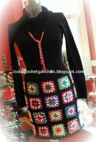 pollera tejida con grannys crochet